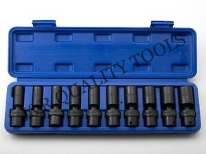 10pc 3 8 Drive Universal Deep Impact 10 19 Mm Swivel Socket Set W Case Metric