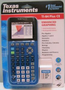 Texas Instruments Ti 84 Plus Ce Color Graphing Calculator Blue New In Box