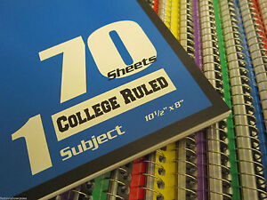 36 Pk Spiral Notebooks 1 subject 70 Sheet College Ruled 3 Dozen special Price
