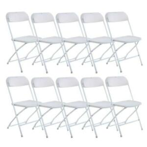 White Set of 10 Commercial Plastic Folding Chairs Stackable Wedding Picnic Party $133.99