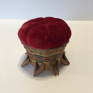 Antique Victorian Red Velvet Pin Cushion Woven Reed Grass Footed Basket 3 X3