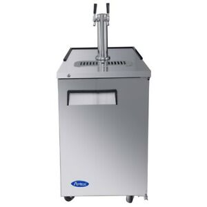Draft Beer Cooler 23 Wide 1 Dual Faucet Tower 1 Locking Door Atosa Mkc23gr