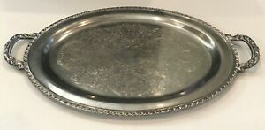 Oneida Oval Silver Plated Serving Platter Waiter Tray 14 5 X 26 With Handles
