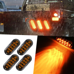 4x 10 Led 6 Amber Oval Surface Mount Brake Stop Tail Light Car Truck Trailer