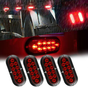 4x 10 Led 6 Red Oval Surface Mount Brake Stop Tail Light Car Truck Traile