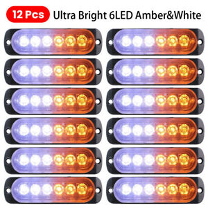 12pc Car Tow Truck Strobe 6 Led Light Emergency Hazard Flashing Warning Lights