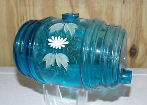Antique Victorian Barrel Keg Wine Whiskey Decanter Hand Painted Floral Design