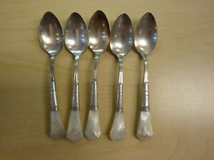5 Tea Spoons Antique Victorian Mother Of Pearl Handle Sterling Bolster Euc