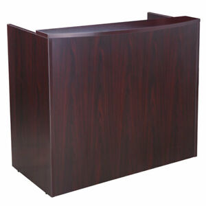 48 Inch Small Reception Desk For Small Office Space Mahogany Finish