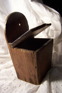 Hanging Primitive Pine Salt Spice Box W Lid Decorated With Tool