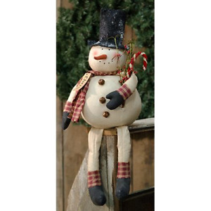 Primitive Chubby Snowman Doll Frosty Top Hat Candy Cane Bells Christmas 24