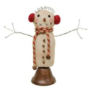 Primitive Bell Snowman Doll Frosty Earmuffs Wire Arms Bells Christmas 8 75 H