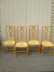 58603 Set Of 4 Rush Seat Ladder Back Dining Room Chairs