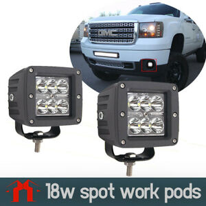 2x3 Dually 18w Led Cube Work Light Pods For Truck Jeep Off Road Atv 4wd 4x4