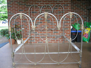1908 Antique Iron And Brass Bed With Butterfly Castings Extremely Rare Original