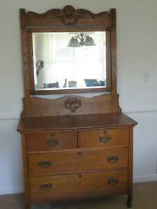Antique Oak Dresser With Beveled Glass Mirror Vintage Chest Of Drawers
