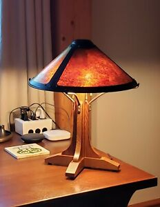 Mica Lamp Company Bungalow Arts Crafts Mission Table Lamp Quarter Sawn Oak