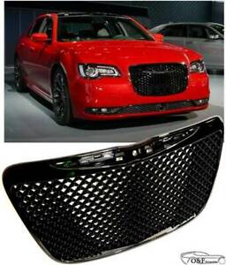 For 2011 2014 Chrysler 300 Front Mesh Grill Srt Style Gloss Black Grille