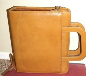 Franklin Covey Brown Classic 7 Ring Planner Full Grain Leather W Pull Handles