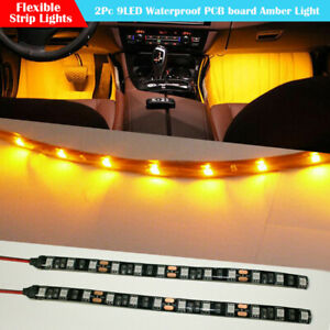 2x Yellow Amber 6 Inch 9 Led Waterproof Flexible Light Strip Black Pcb Board
