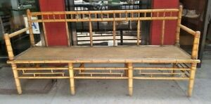 Vintage English Bamboo And Cane Bench Asian Influence