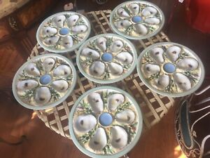 Antique Porcelain Oyster Plates Set Of 6 Matching Signed 6 Well Beatiful Set