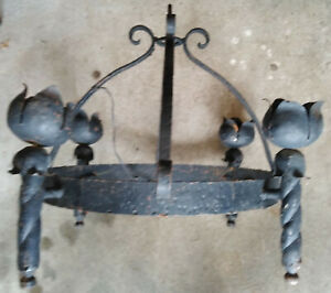 Antique Chandelier Arts Crafts Gothic Medieval Wrought Iron Hanging Light Flames