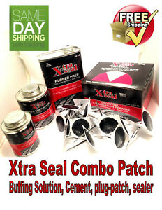 Xtra Seal Tire Repair Complete Combi Kit Patch Plug Glue Sealant Pre Buff