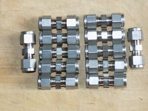 Swagelok 1 4 Tube Stainless Steel Fitting Union Ss 400 6 Lot Of 12