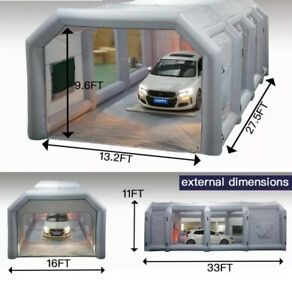 26x13x10ft Inflatable Spray Booth Painting Tent Mobile Portable Car Workstation