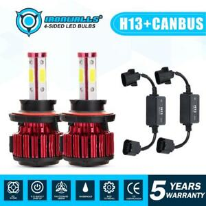 4 Sides H13 9008 Cree Led Headlight Hi lo Beam Bulbs canbus Resistor Decorder