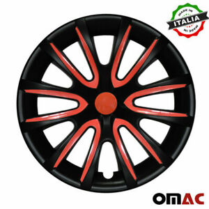 15 Inch Hubcaps Wheel Rim Cover Matt Black With Red Insert 4pcs Set