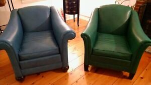 Pair Of Mid Century Modern Blue Turquoise Puffy Vinyl Arm Chairs Very Cool