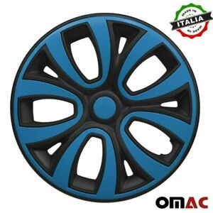 Hubcaps 15 Inch Wheel Rim Cover Matt Black With Blue Insert 4pcs Set