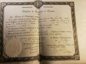 Bachelor Of Sciences Diploma On Parchment With Seal Signed On October 20 1879