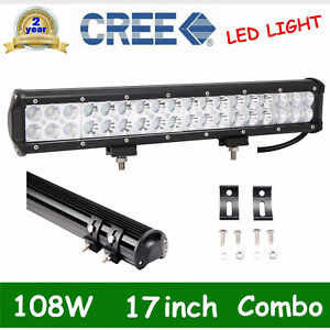 17inch 108w Cree Led Light Bar Flood Spot Work Driving Off Road 4wd Truck Vs 18