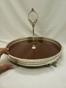 Crescent Silver Footed Gallery Waiter Serving Cocktail Tray Formica Center 12 7