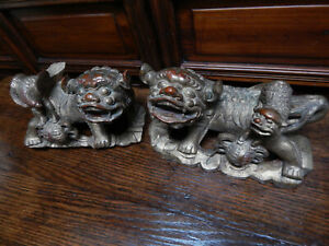 Large Antique Hand Carved Wooden Chinese Fu Dogs With Gold Leaf