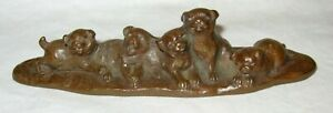 Japanese 5 Akita Puppies Bronze Statue Signed By Artist