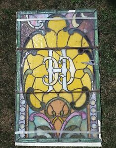 Antique Stained Cut Glass Window Panel Art Deco Victorian 32 X 20 Needs Repair