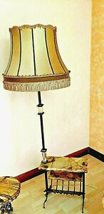 Neoclassical Style Italian Brass Floor Lamp With Marble Tops Vintage