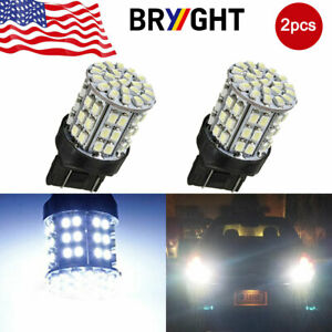 2pcs 12v 7443 64 Smd White 6000k Reverse Brake Stop Tail Led Bulb Light Lamp