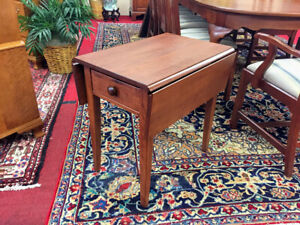 Custom Made Cherry Pembroke Style End Table One Drawer Delivery Available