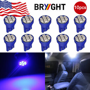 10pcs T10 W5w 192 194 158 8 Smd Led Instrument Cluster Interior Light Bulbs Blue