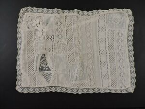 Antique Mixed Lace Small Pillow Case W Cotton Backing