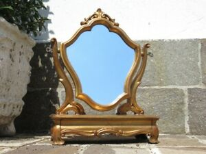 Vintage Mirror Table Mirror Venetian Flap Yellow Wood Golden Xx Century