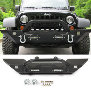 Textured Front Bumper W Built in Led Light D ring For 07 17 Jeep Wrangler Jk