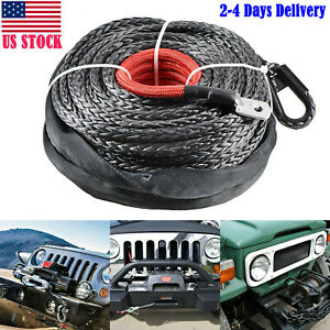 3 8 X 95 Winch Synthetic Line Cable Rope Atv Utv Truck Boat W Thimble Sleeve