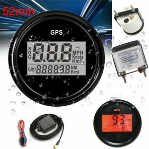 52mm Gps Digital Speedometer Lcd Odometer Gauge Boat Marine Car Truck Waterproof