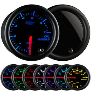 Glowshift 52mm Tinted 7 Color Bar Oil Pressure Gauge Gs t704 bar